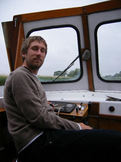 "Me aboard ""Layla"" on the Norfolk Broads.."