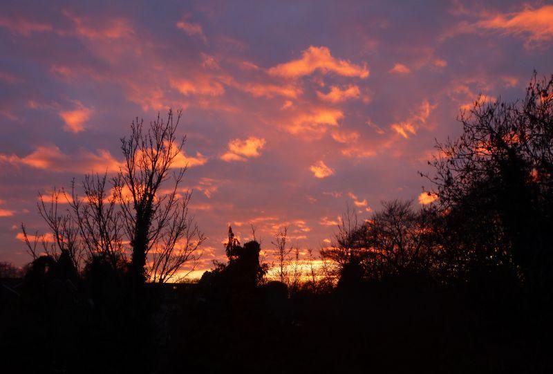 Sunset under a cloud bank
