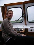 """Me aboard """"Layla"""" on the Norfolk Broads.."""